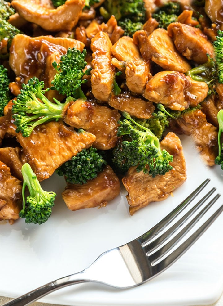 Chinese chicken and broccoli errens kitchen the plated chinese chicken broccoli ready to eat with a fork next to it forumfinder Choice Image