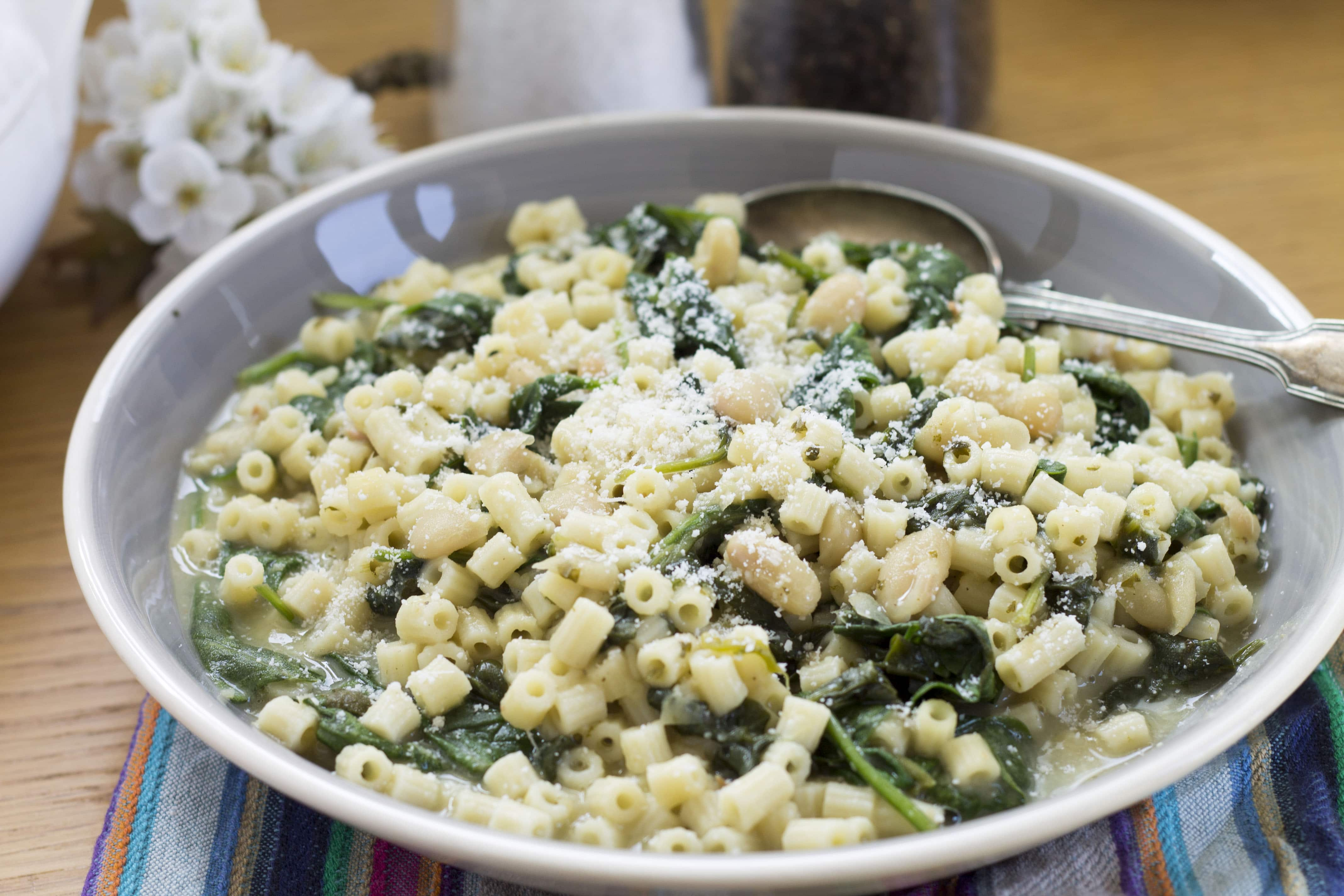 Easy Spinach, White Bean & Pasta Soup - Erren's Kitchen
