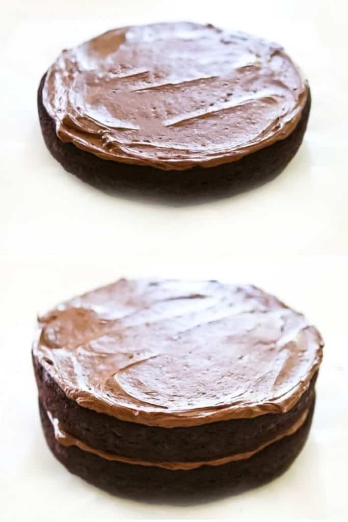 frosting spread over two cake layers