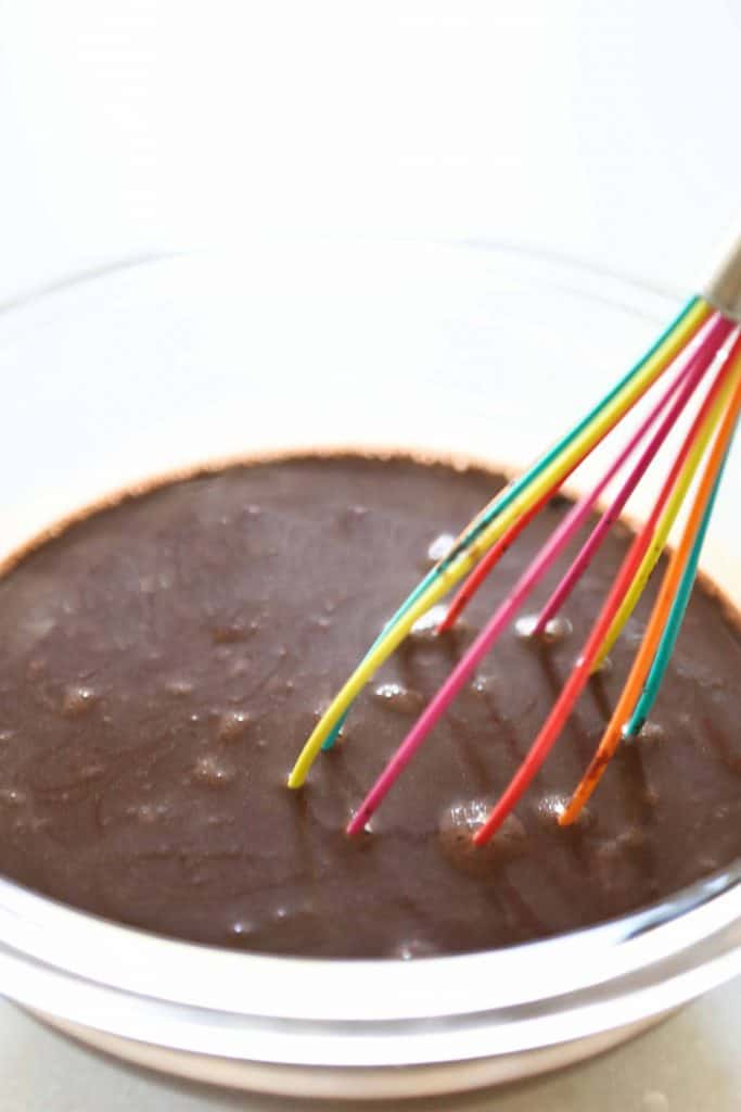 the mixed chocolate cake batter in a glass bowl