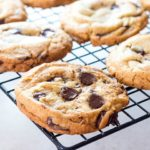 The Best Ever Classic Chocolate Chip Cookies cooling on a wire rack