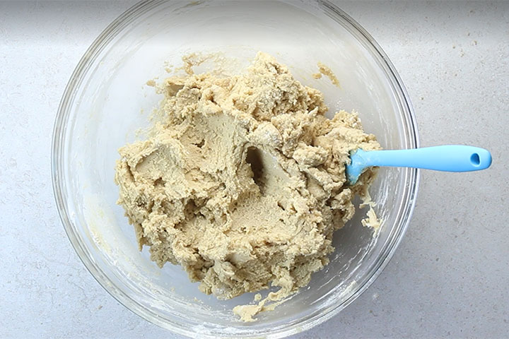 The flour mixed into the cookie dough