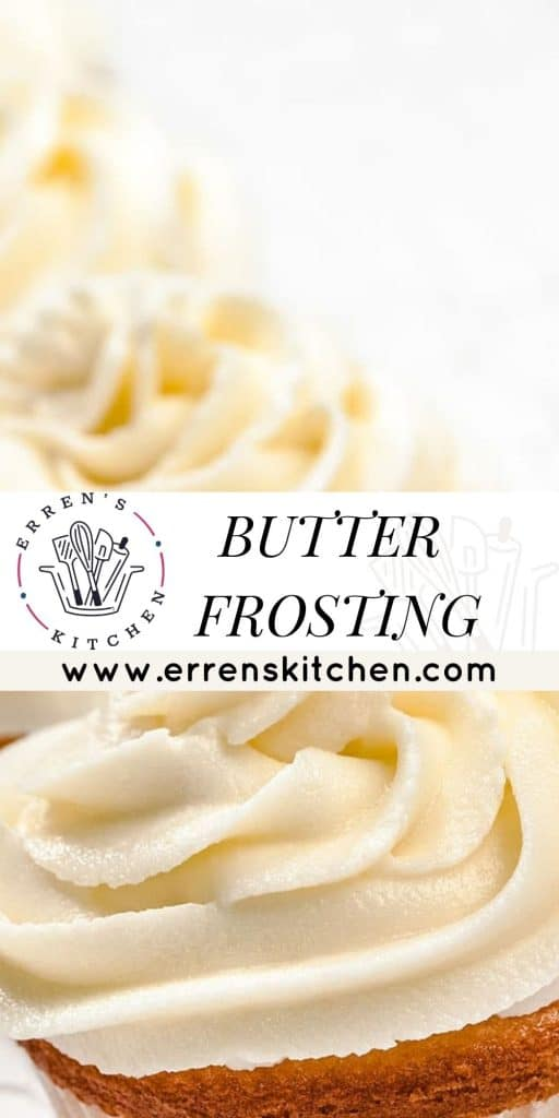 butter frosting in a bowl and on cupcakes