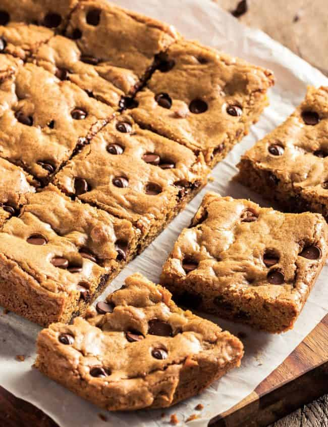 a batch of fresh cut chocolate chip blondies on baking paper
