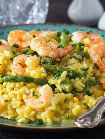 Shrimp and Asparagus Saffron Risotto