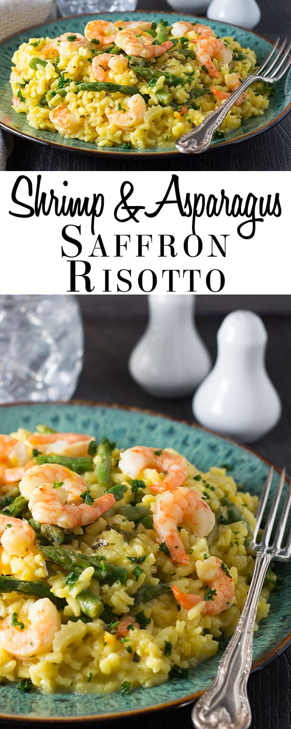 Shrimp and Asparagus Saffron Risotto - Erren's Kitchen - If you are looking for a simple dish, that both tastes and looks beautiful, this delicious recipe will not disappoint!