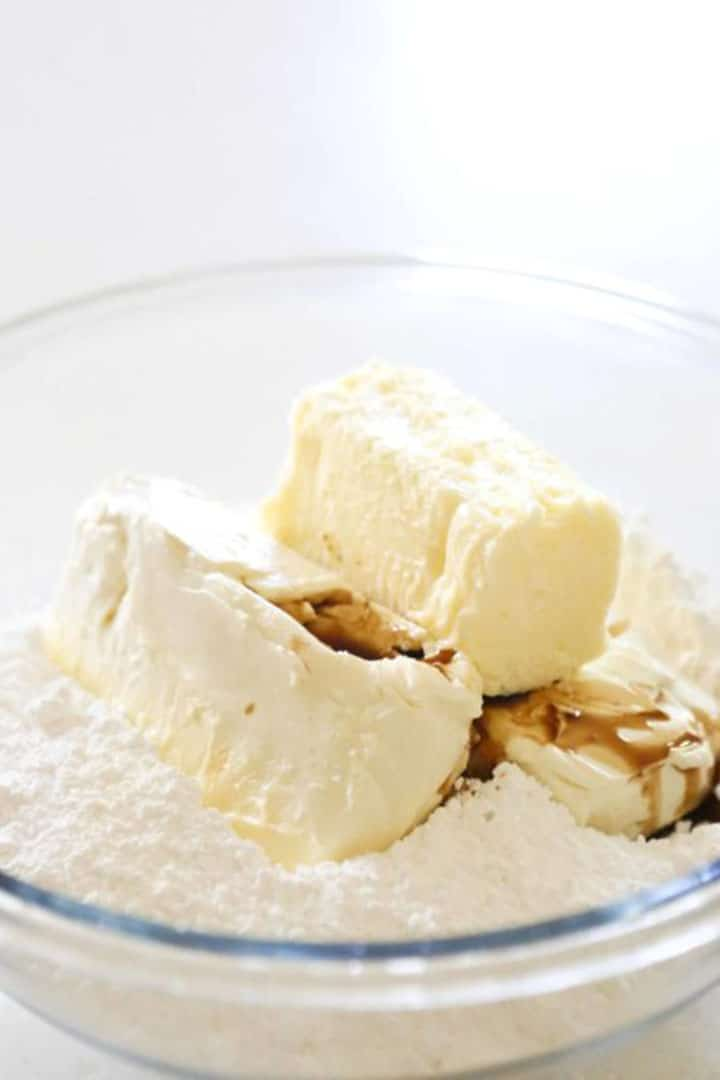 butter, sugar and vanilla in a bowl