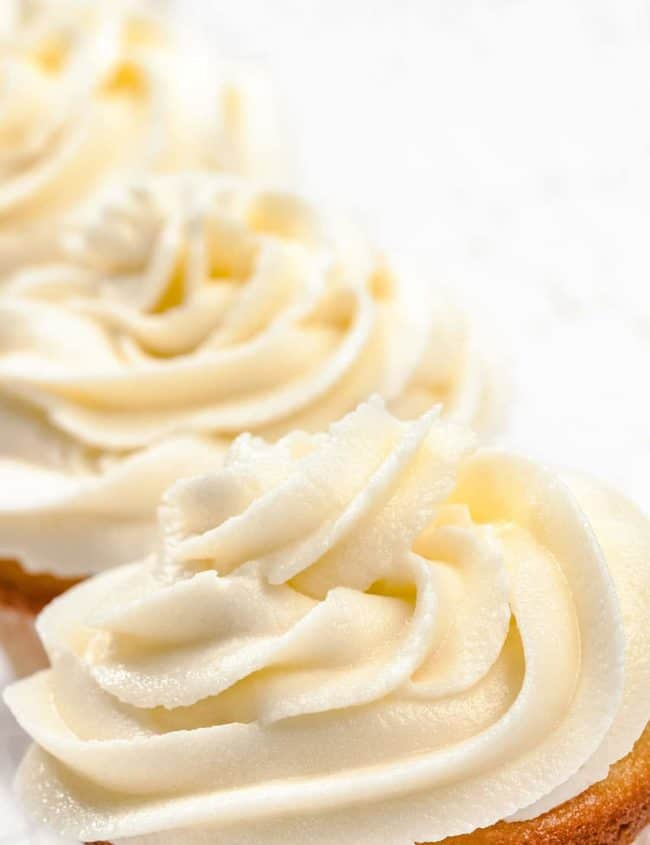 Butter Frosting swirled on top of a cupcake