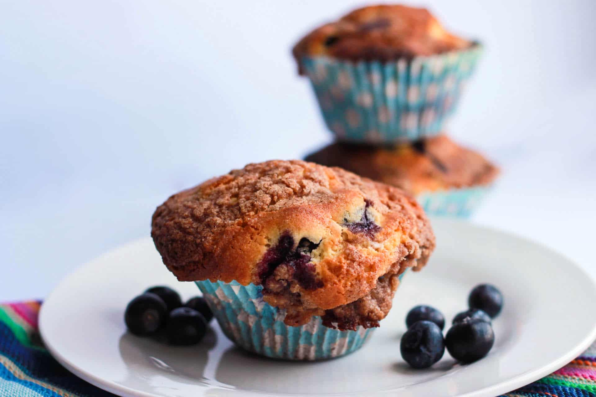 Blueberry Crumb Cake Muffins - Light, fluffy and full of blueberries