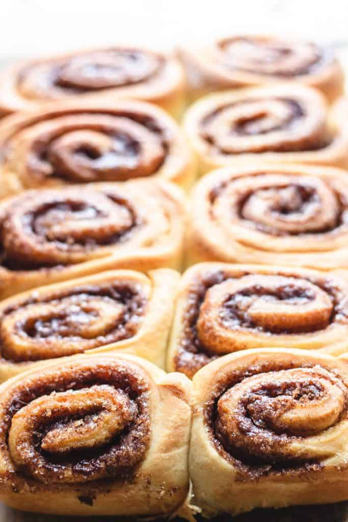 freshly baked cinnamon rolls in a pan fresh out of the oven