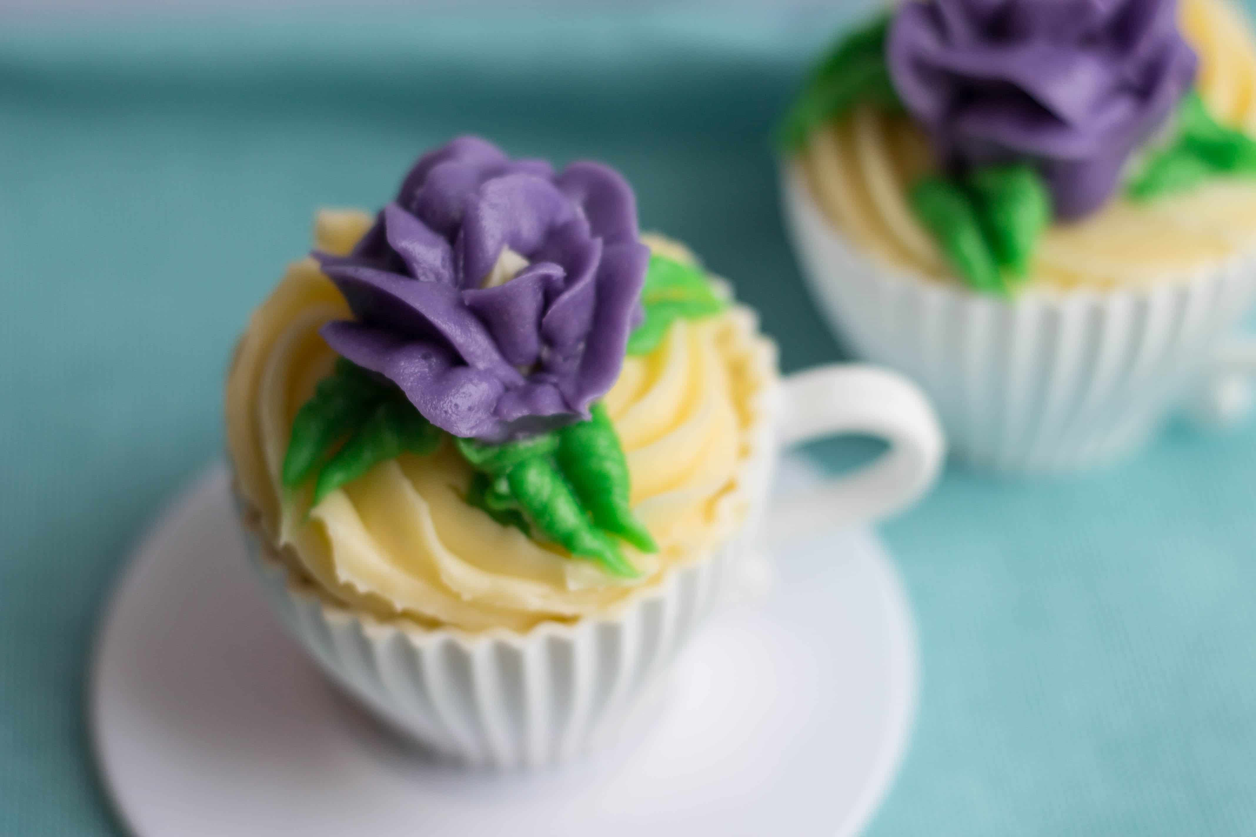 Yellow Cupcakes with Butter Icing