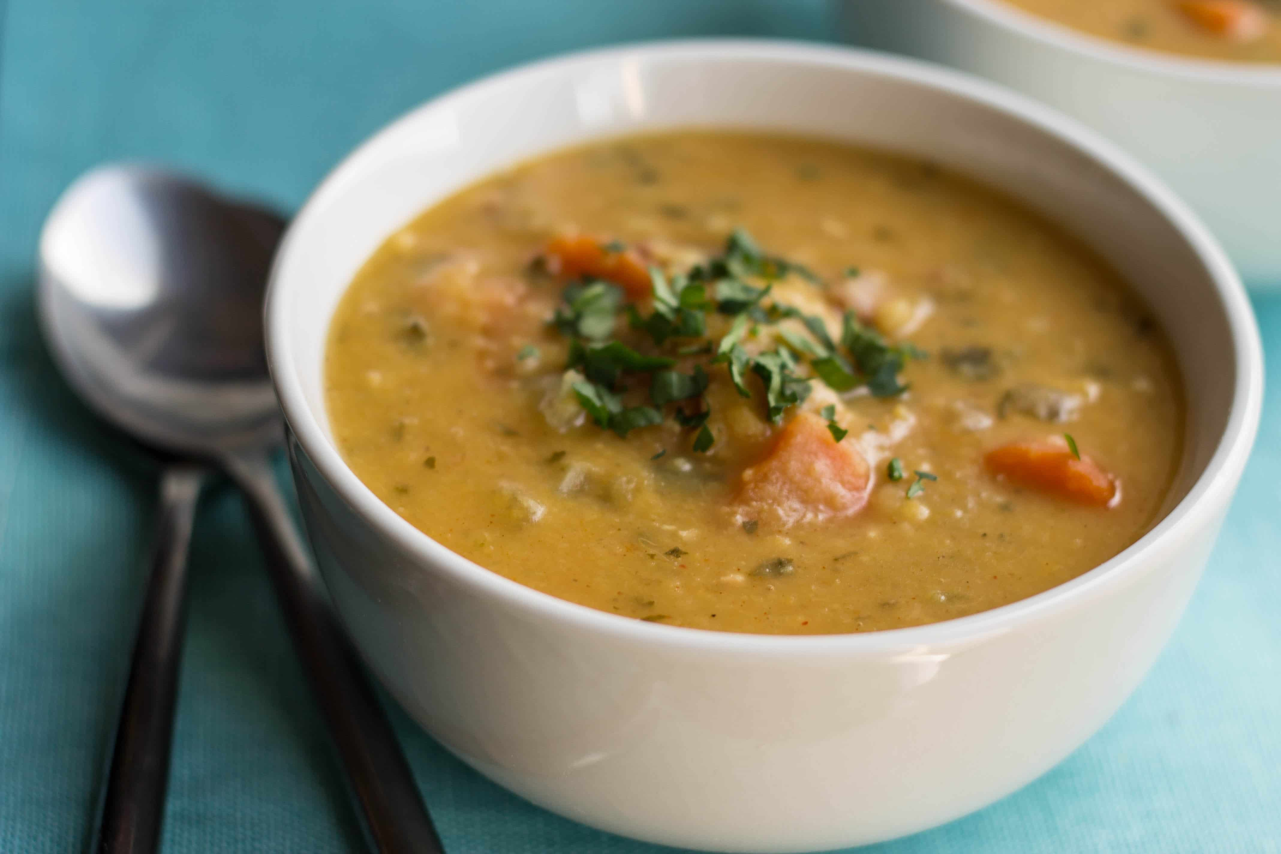 yellow split pea and bacon soup