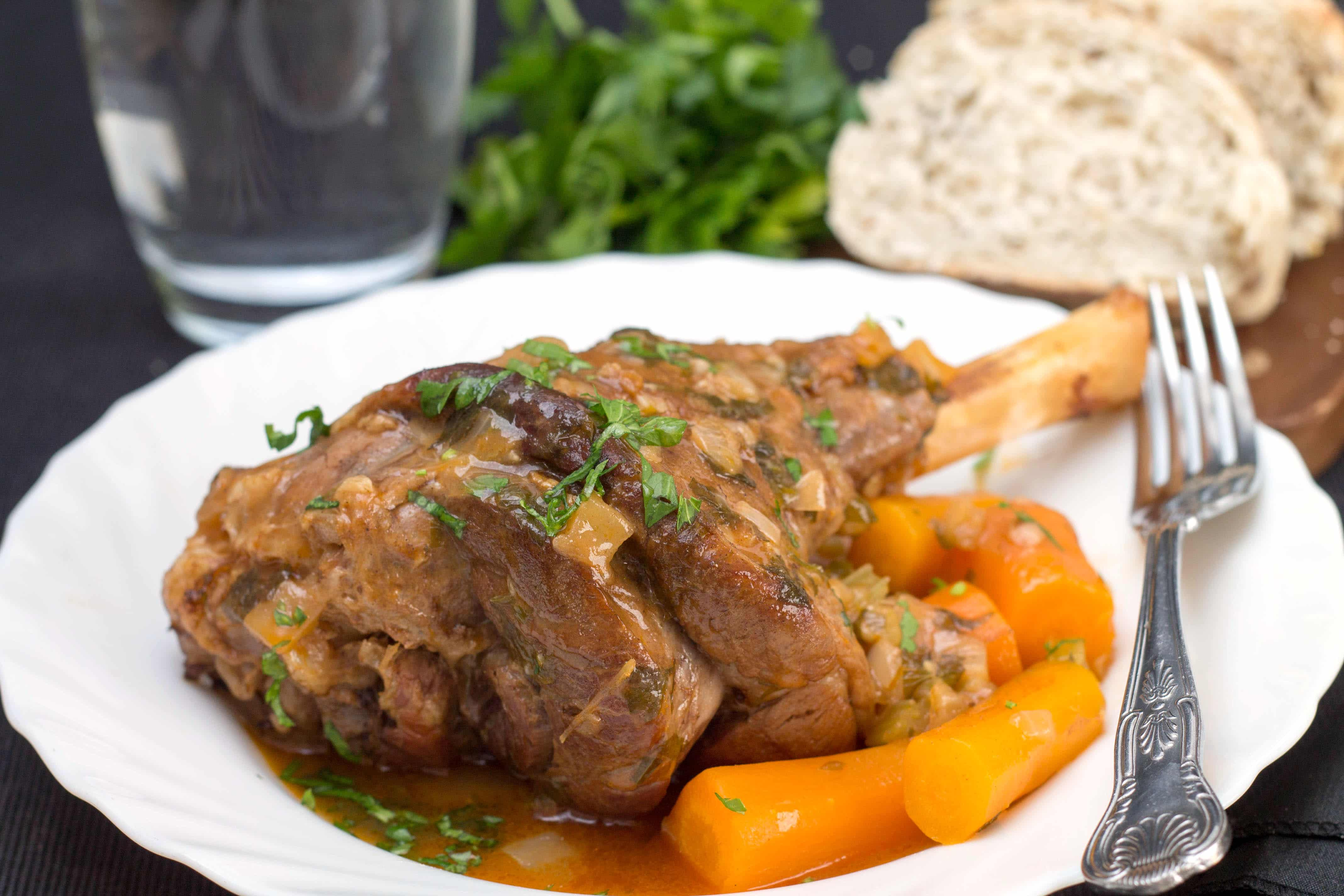 Slow Cooked Lamb Shanks - Erren's Kitchen - This recipe makes a hearty, slow-cooked dish. The succulent lamb meat ends up, melt in your mouth tender!