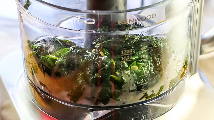 The spinach and garlic added to a food processor