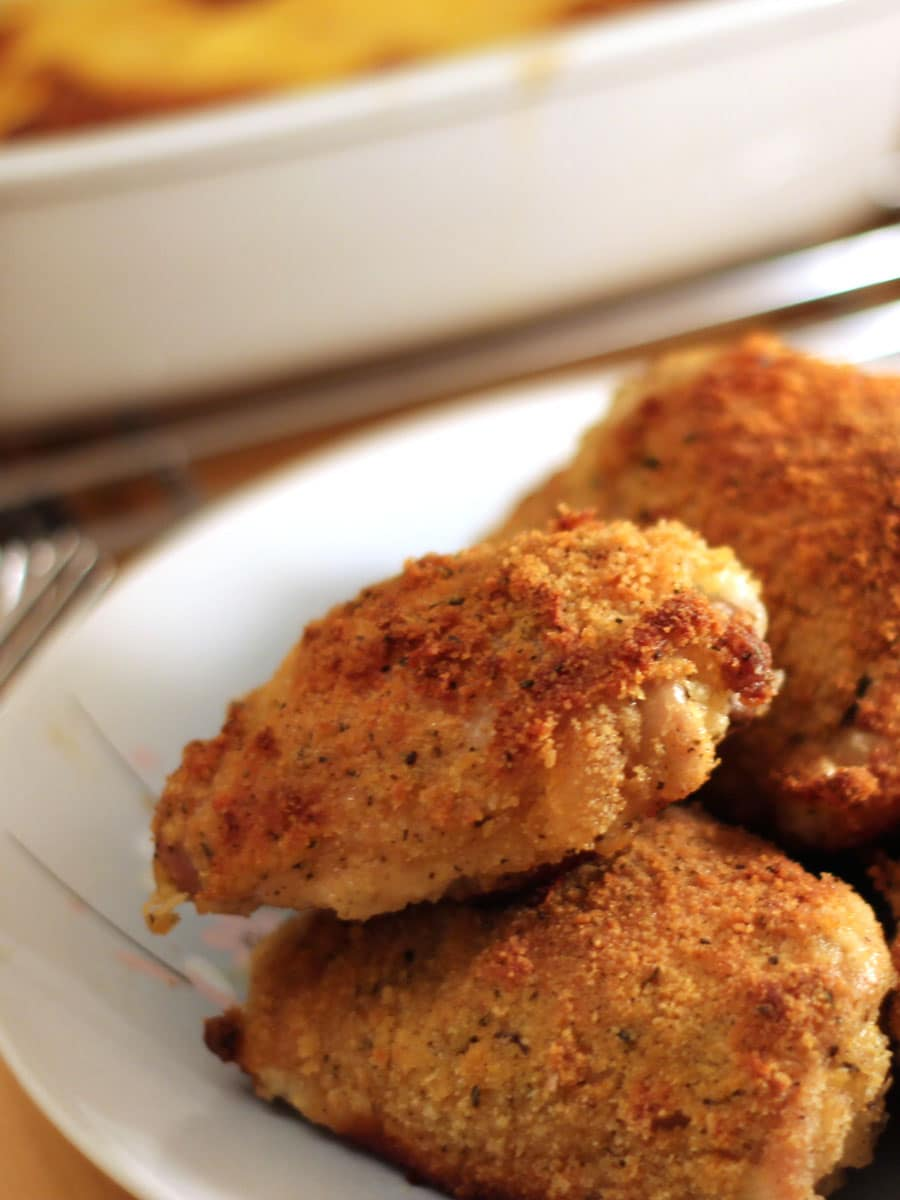 Oven-Fried Buttermilk-Mustard Chicken Thighs With Panko ...