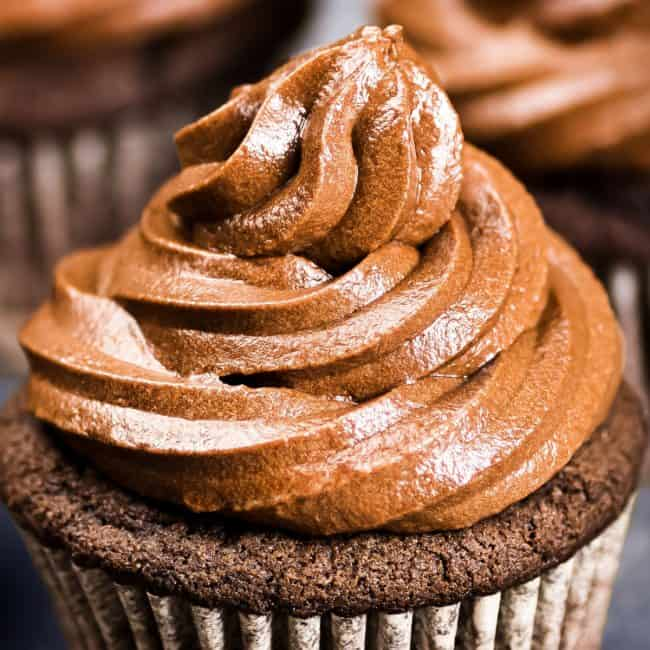 Chocolate Frosted Cupcakes on Metal Tray