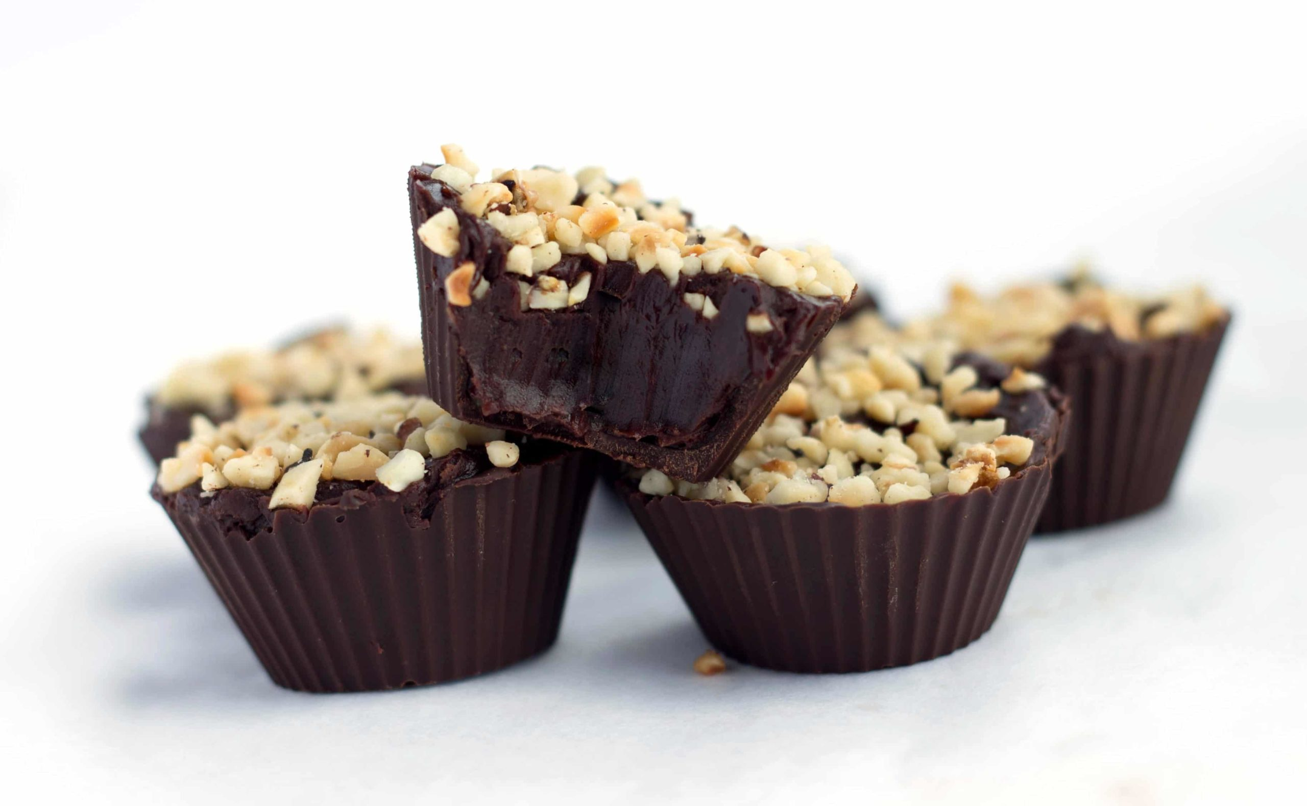 Chocolate Hazelnut Truffle Cups in a pile.