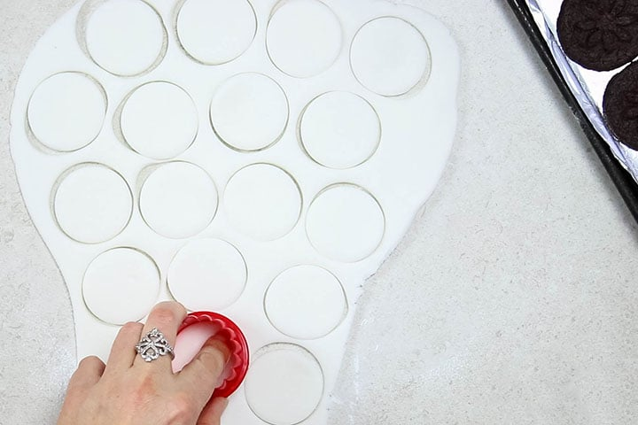 fondant icing with rounds cut out of it