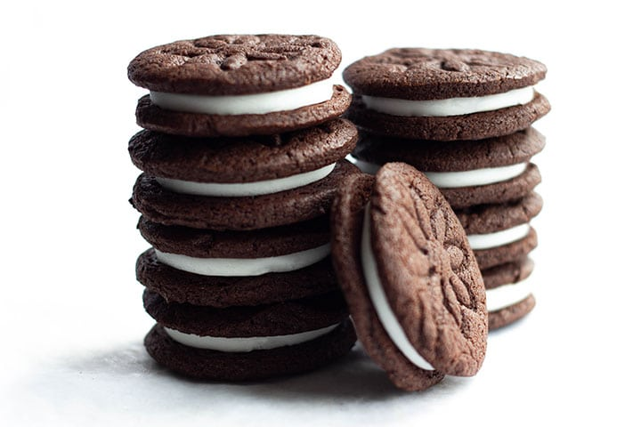 Two stacks of Homemade Oreos with one on it's side up against them