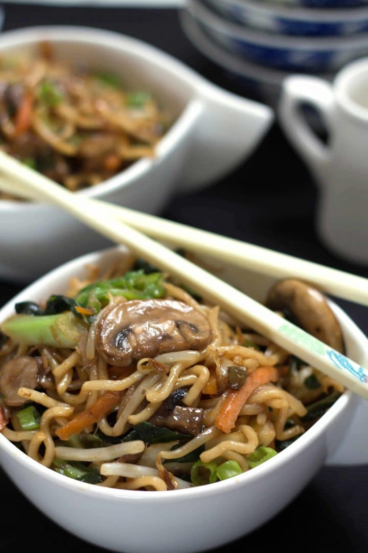 Perfect Chinese Noodles served in dishes with chop sticks