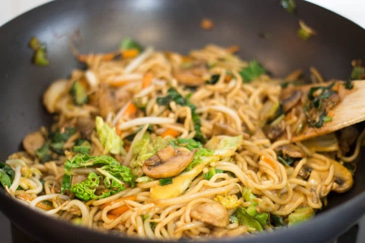 Perfect Chinese Noodles cooking in the wok