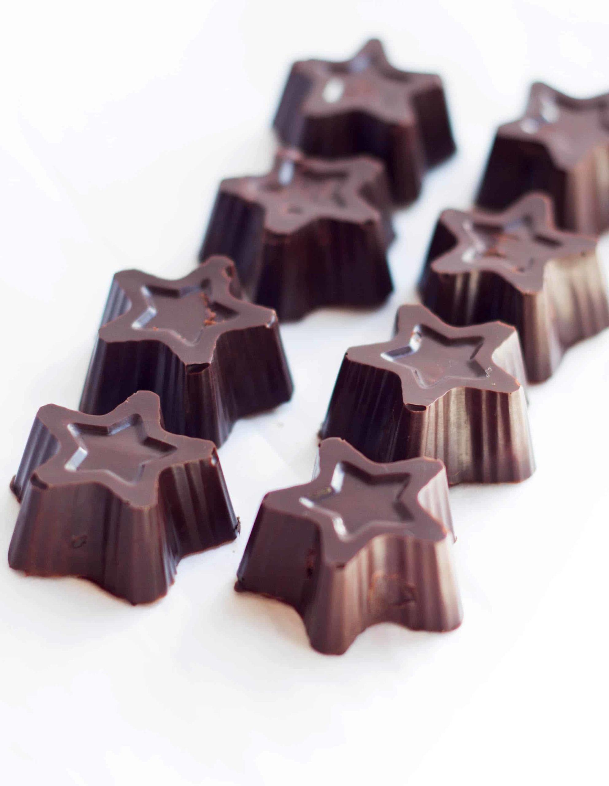 close up of star shaped dark chocolate truffles
