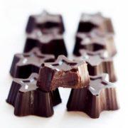 A close up of dark chocolate truffles