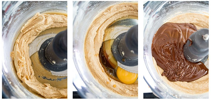 three photos showing the steps of creaming the butter, adding the eggs, and adding the melted chocolate