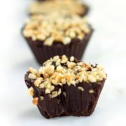 close up of chocolate hazelnut truffle cups