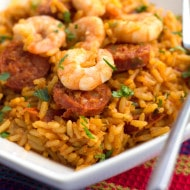 One Pot Shrimp and Chorizo Rice