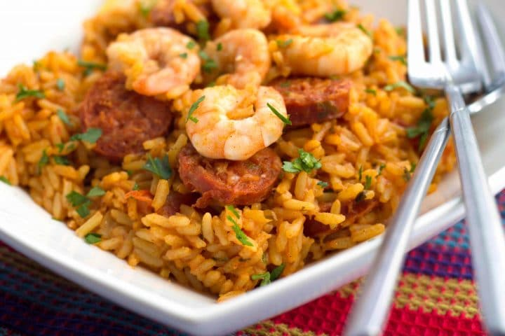 One Pot Shrimp and Chorizo Rice