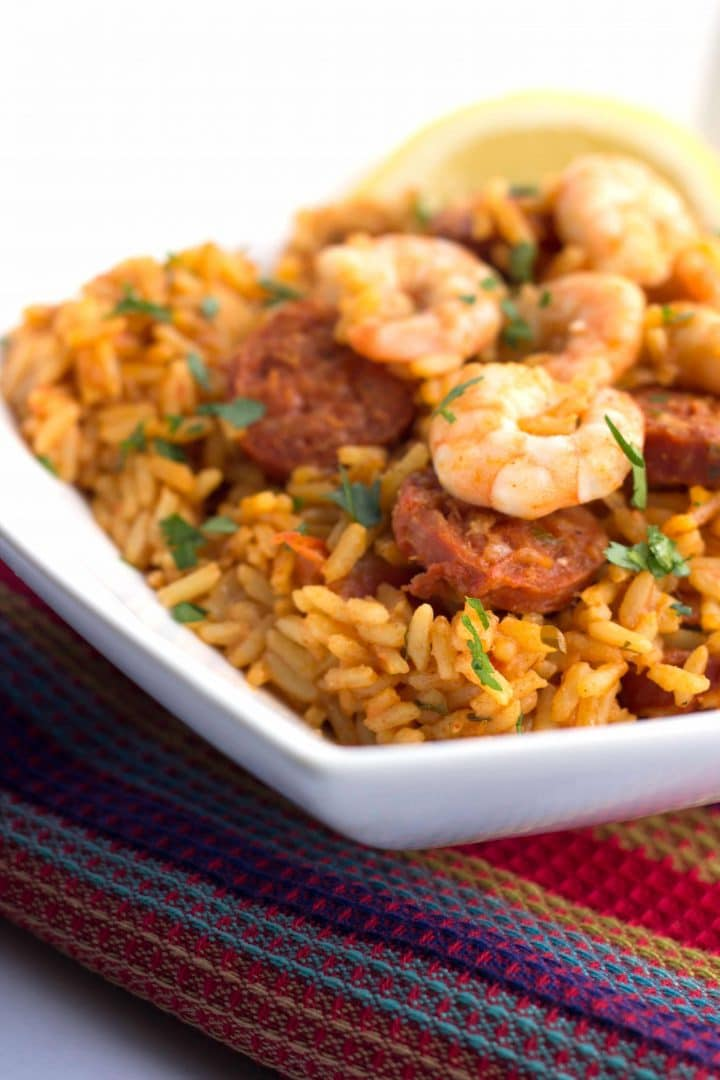 Easy dinner ideas, simple dinner ideas, one pot shrimp and chorizo rice
