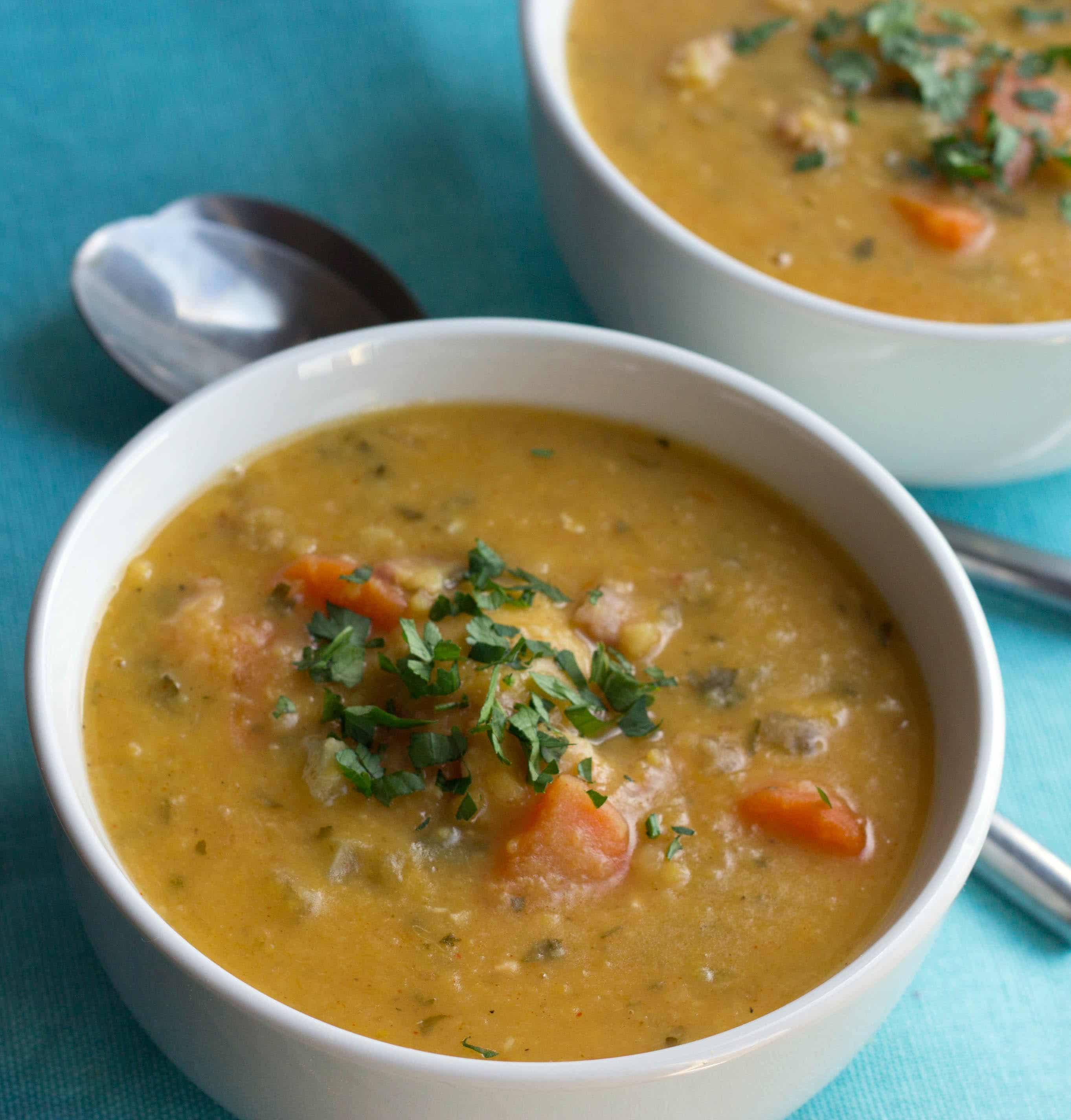 This recipe for Yellow Split Pea and Bacon Soup is full of flavor and ...
