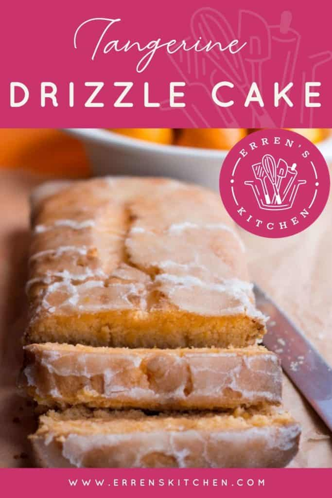 tangerine drizzle cake sliced and ready to serve