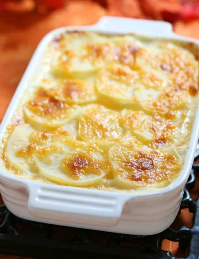 Cheesy Scalloped Potatoes fresh from the oven