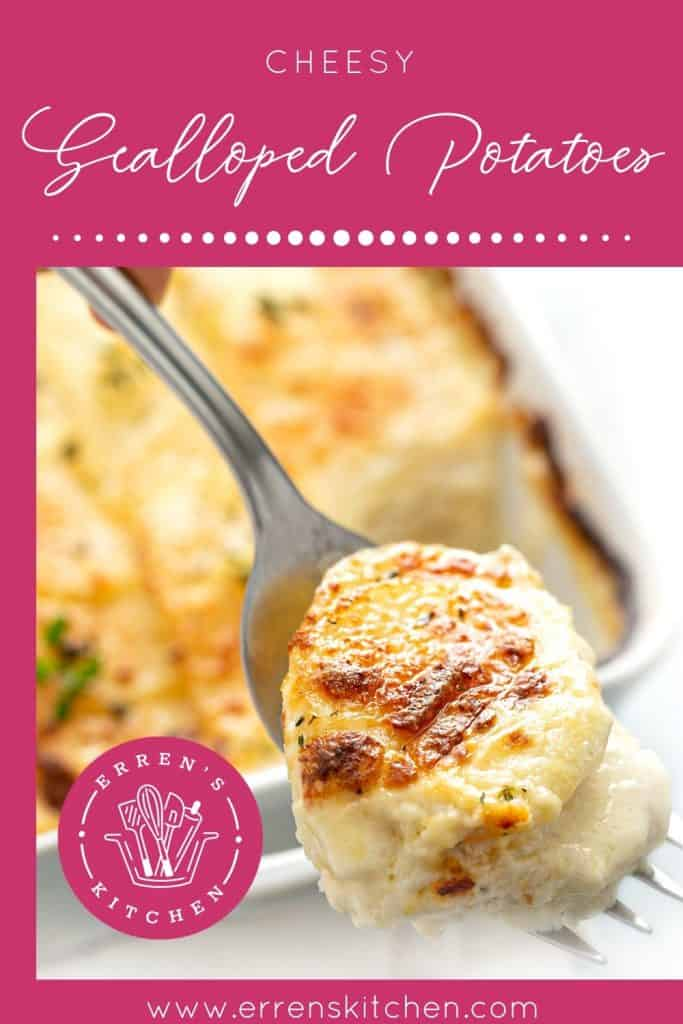 a forkful of cheesy scalloped potatoes