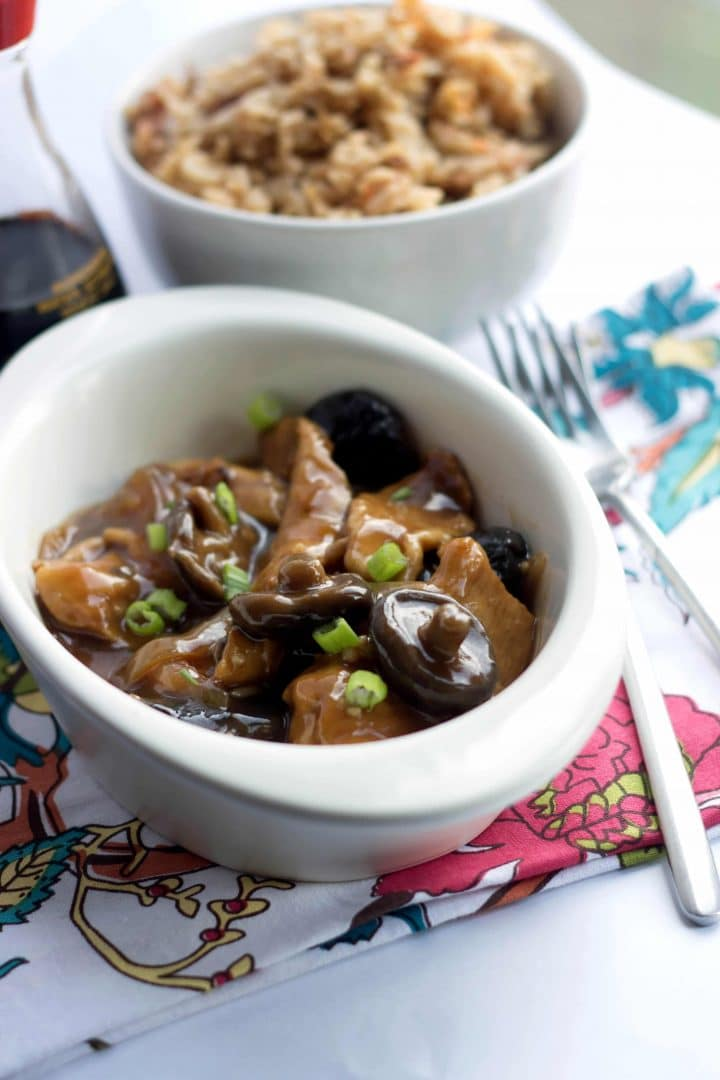 Chicken with chinese mushrooms errens kitchen a dish of chicken with chinese mushrooms with fried rice in the background forumfinder Choice Image