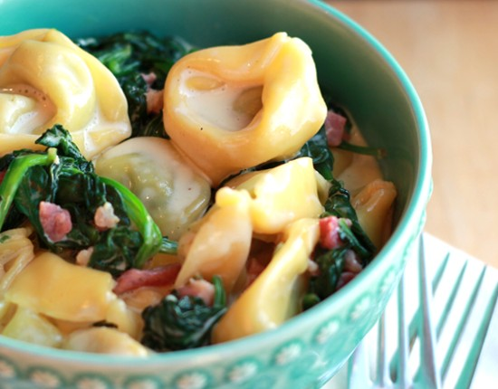 Sauce Creamy Tortellini with Pancetta & Spinach Easy Cherry Tomato ...