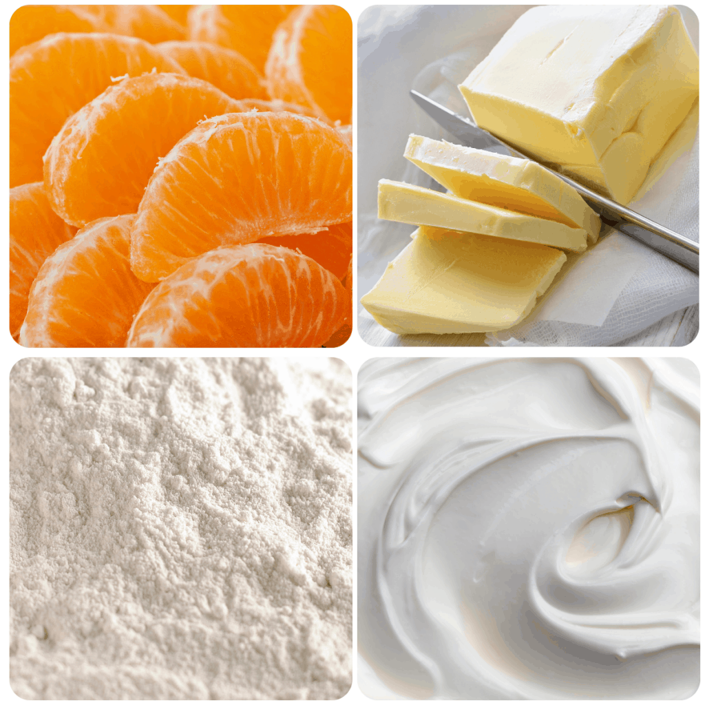 four ingredients used in tangerine drizzle cake