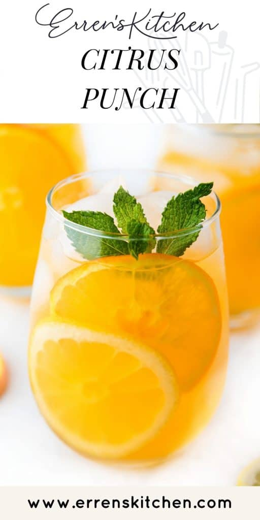 a glass filled with citrus punch