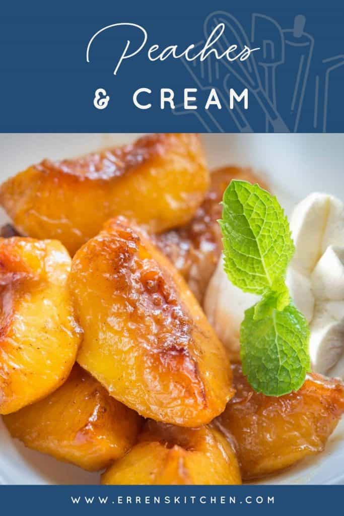 Peaches and cream ready to eat with a sprig of mint for decoration