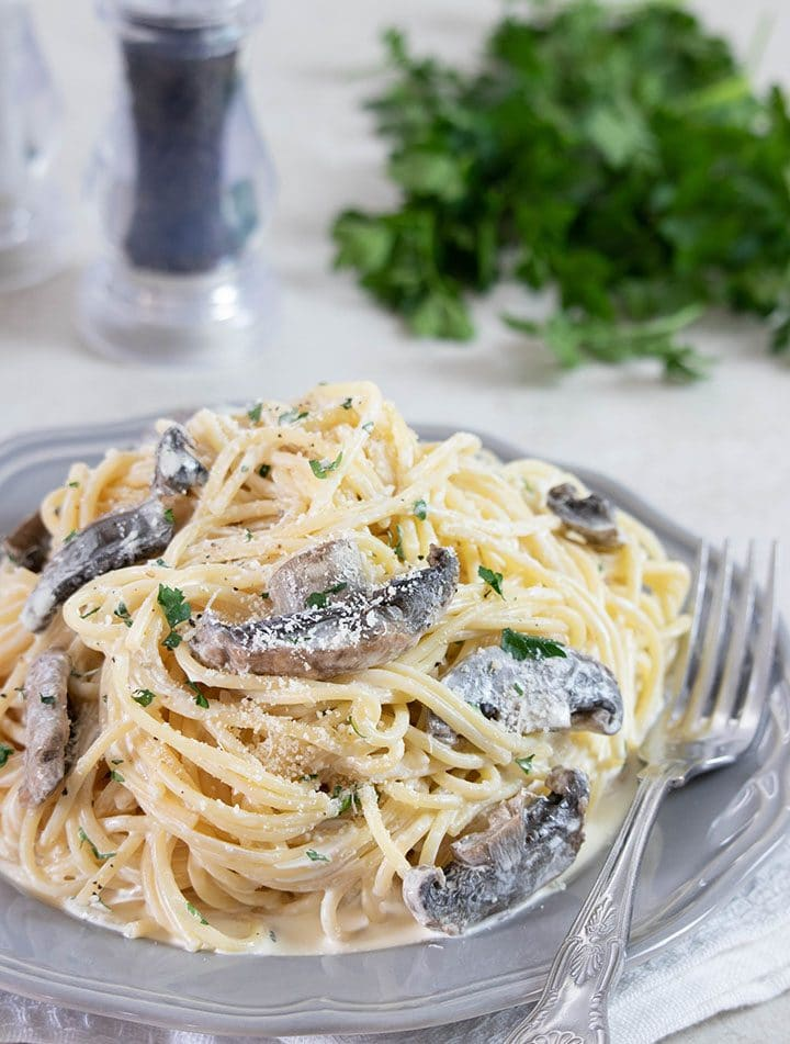 Creamy Mushroom Spaghetti on a grey plate with salt, pepper and parsley in the background