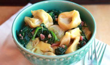 Creamy Tortellini with Pancetta & Spinach