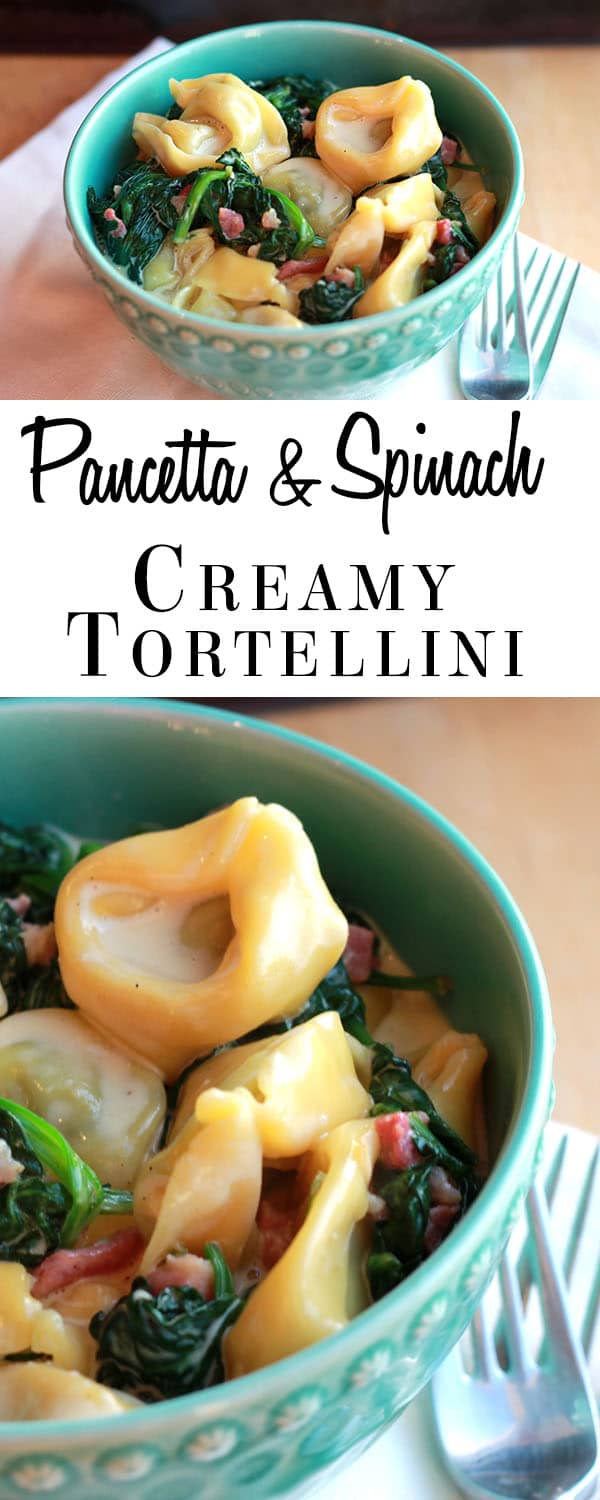 Creamy Tortellini with Pancetta & Spinach - Erren's Kitchen - This recipe may look complicated, but it really is easy to throw together!  It's a great quick weeknight dinner!
