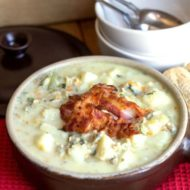 Clam Chowder Topped with Pancetta