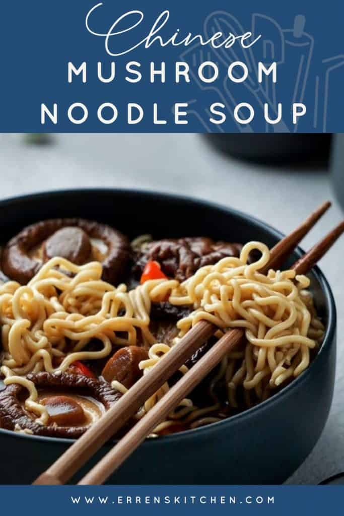 Chinese Mushroom Noodle Soup ready to eat with chopsticks