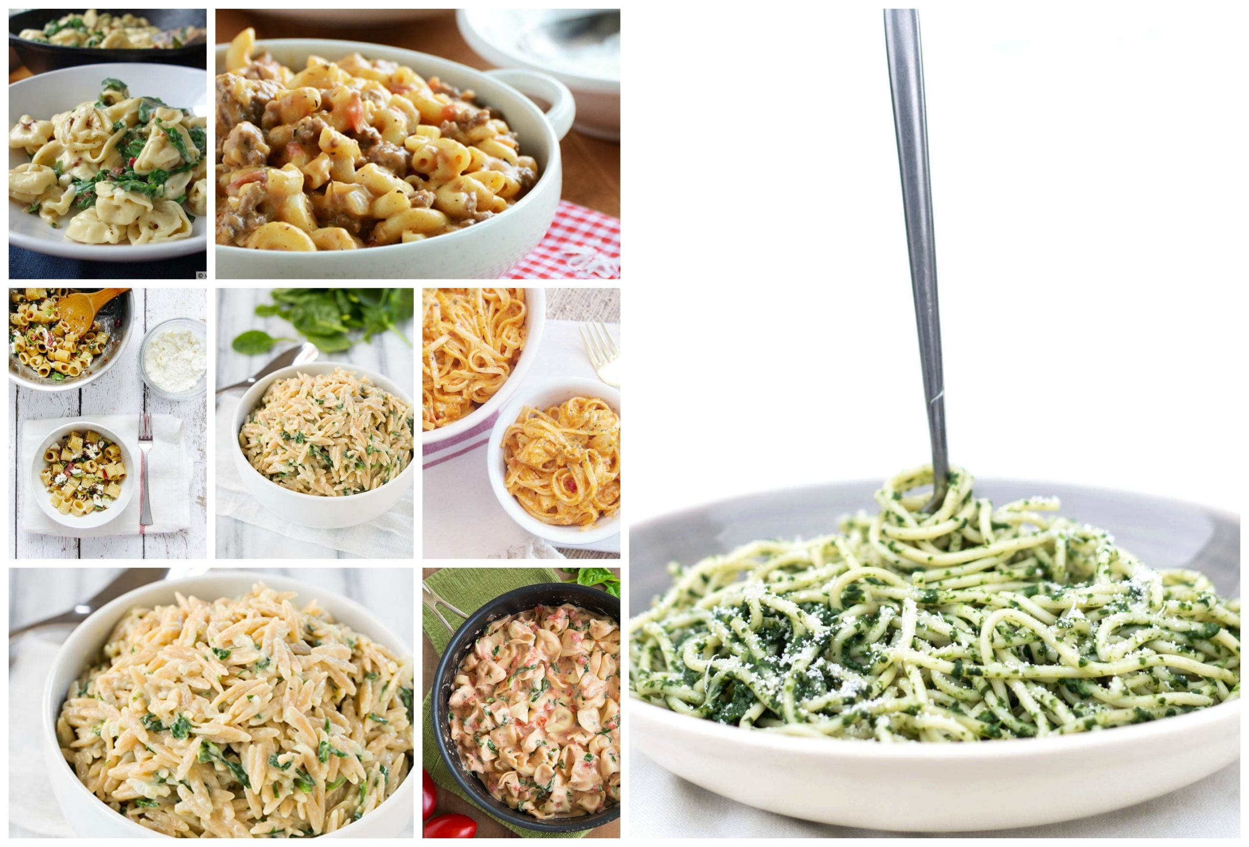 a medley of photos of sixteen different pasta dishes