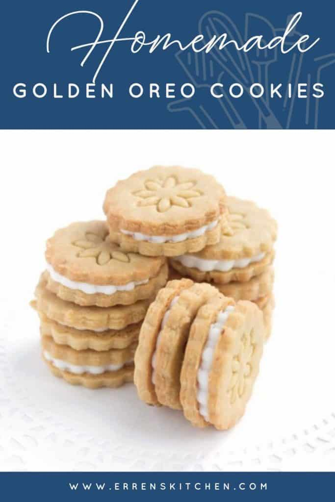 Homemade Golden Oreo Cookies in piles ready to eat