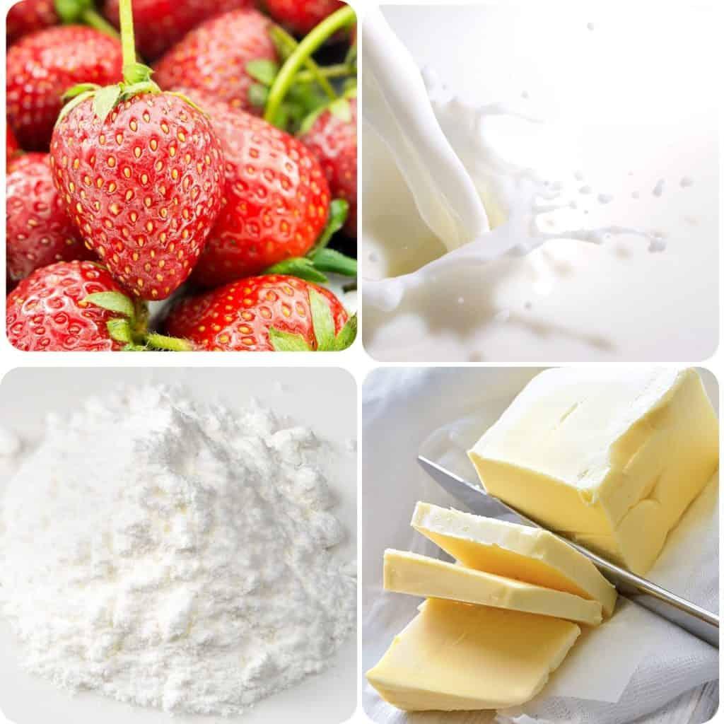strawberries, cream, baking powder, and butter