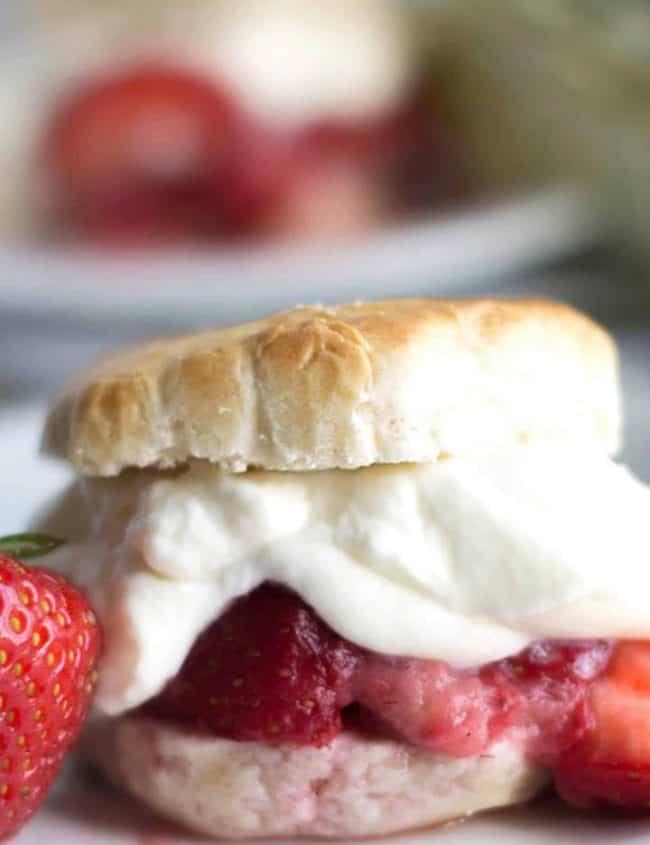 A close up of strawberry shortcake